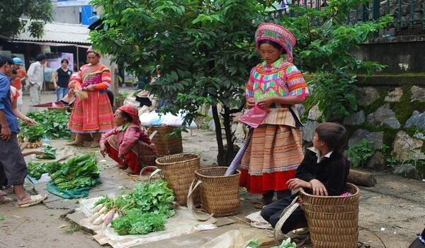 marché Coc Ly vietnam avec enfants