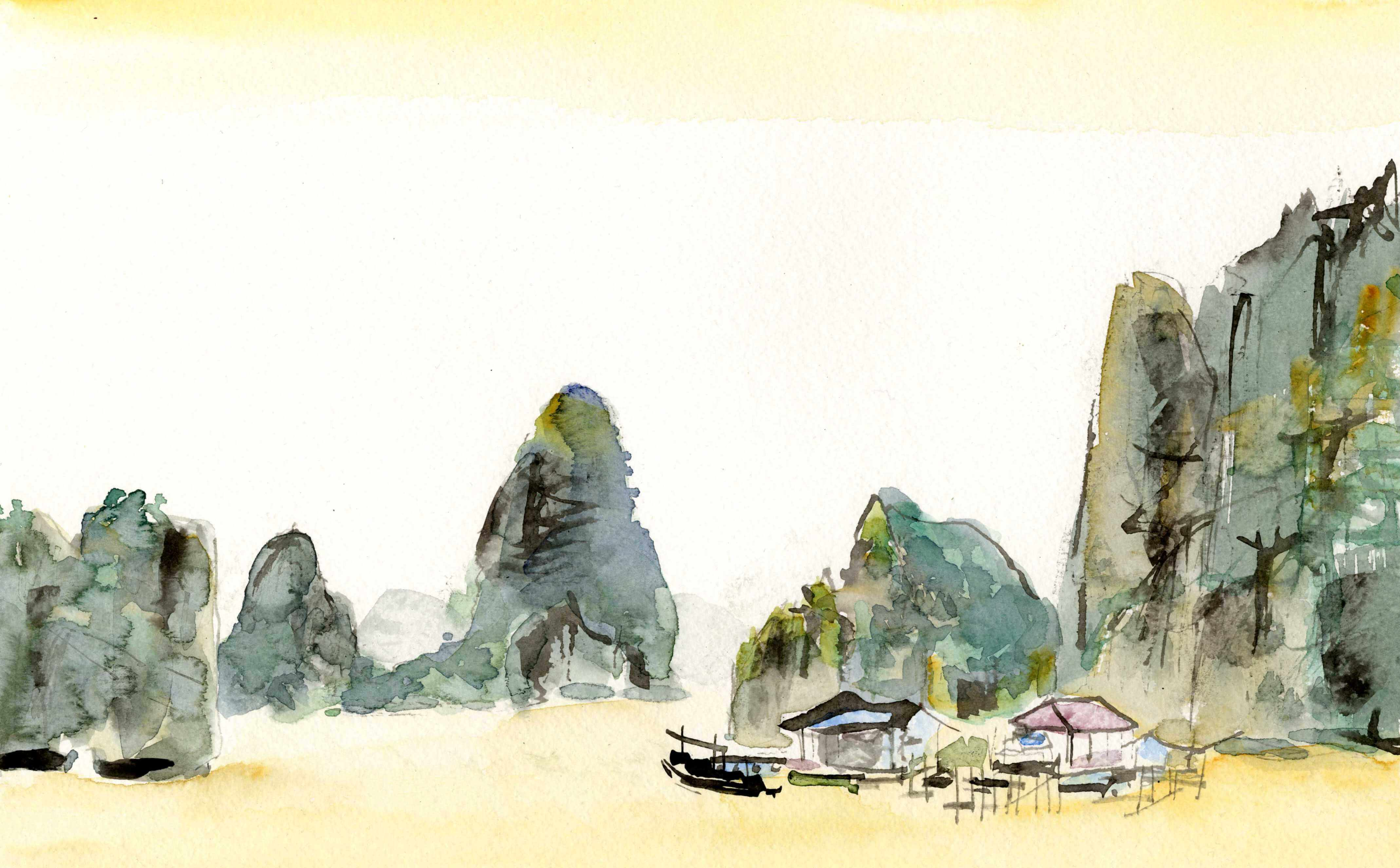 HALONG BAY aquarelle peintre Eban