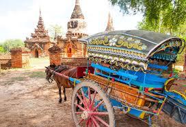 Ava Birmanie visite d'Inwa en carriole à cheval
